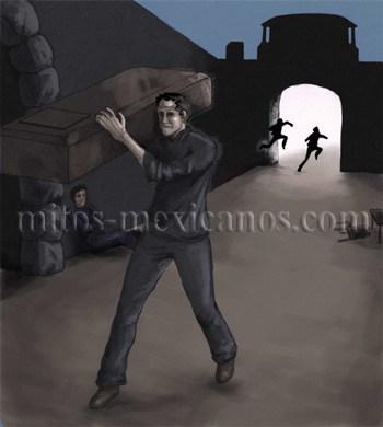 Leyendas mexicanas - Dibujo de la leyenda El Espectro de la Puerta de la Tierra