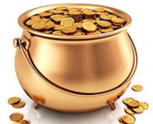La olla de monedas de oro escondida
