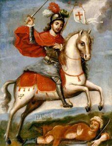 Santiago montando sus caballo.